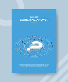 Searching answer concept for template flyer for printing with isometric style