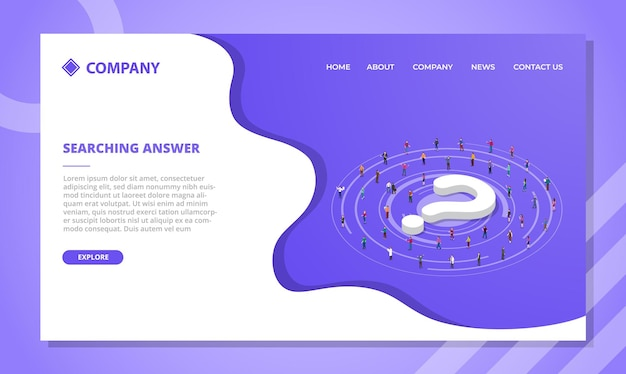 Searching answer concept for website template or landing homepage design with isometric style