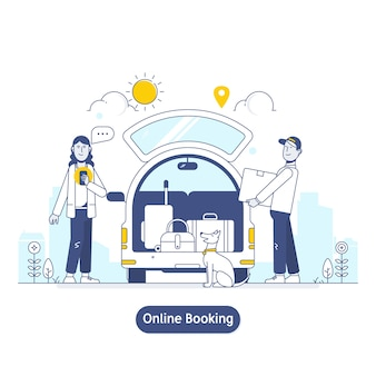 Searching and booking, holidays and traveling app concept illustration in flat line style.