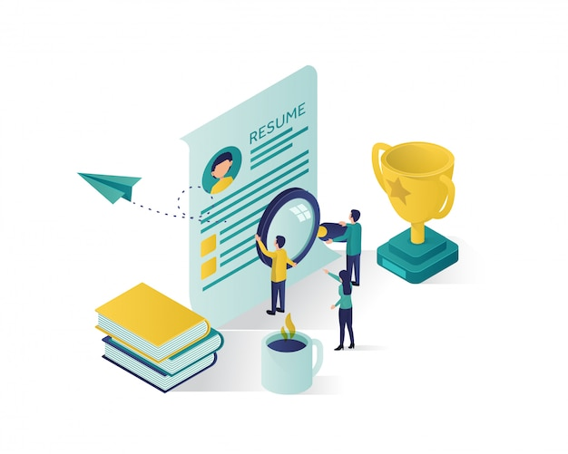 Searching for candidate isometric illustration,