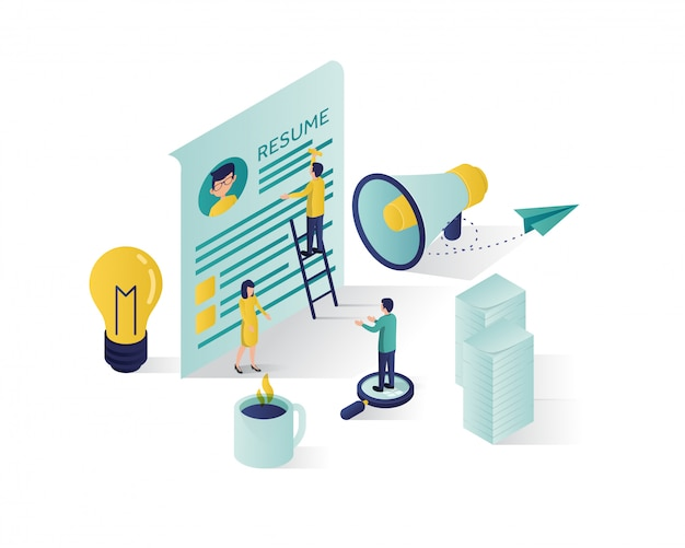 Searching for candidate isometric illustration.