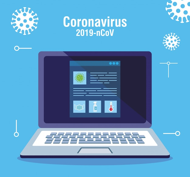 Searching covid 19 information online in laptop computer vector illustration design