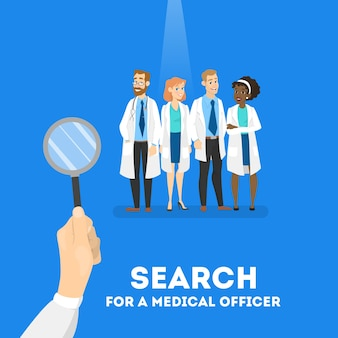 Searching for a doctor concept. hospital worker need. looking for professional with magnifying glass.   illustration