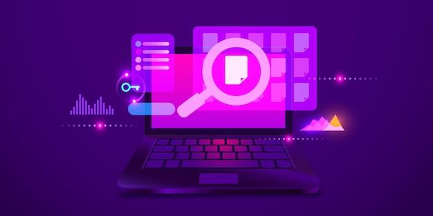 Поиск файла или данных на современном футуристическом фоне ноутбука