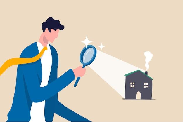 새 집을 찾고, 부동산 및 숙박 시설 평가 또는 새로운 임대 및 모기지 개념을 찾습니다.