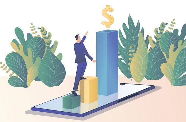 機会を求めてビジネスマンは新しい機会を求めて金貨の上に立っています