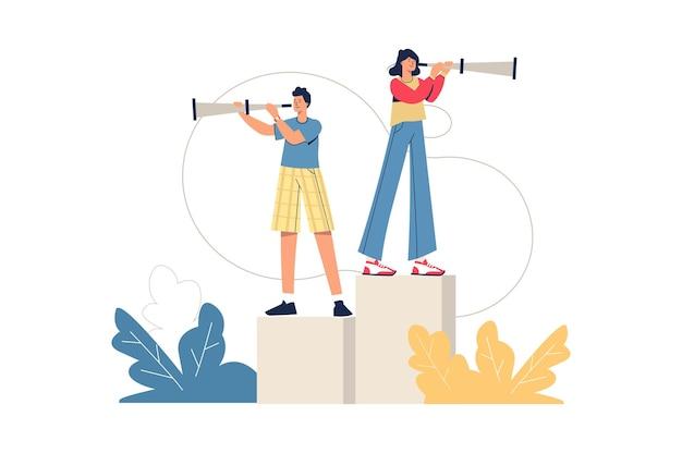 機会のウェブコンセプトを探しています。男性と女性がスパイグラスを通して見て、新しい解決策を見つけ、ビジネスアイデアを最小限の人々のシーンで開発します。ウェブサイトのフラットなデザインのベクトル図