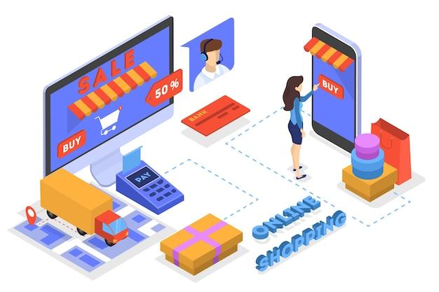 온라인 상점 개념에서 상품을 검색합니다. 전자 상거래 개념. 인터넷에서 쇼핑하고 디지털 돈으로 지불하십시오. 삽화