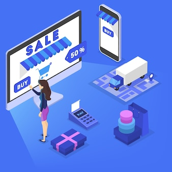 Searching goods in online shop concept. e-commerce concept. shopping in internet and make digital money payment.    illustration