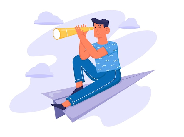 Searching for inspiration with man hold telescope and sitting on plane