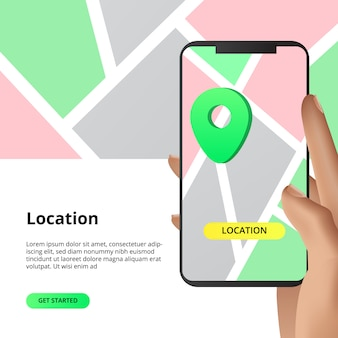 Searching location maps sharing concept. for business, market, shopping direction with smarthphone app with hand illustration.