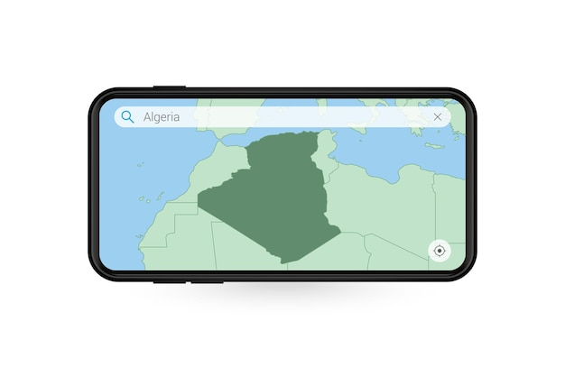 Searching map of algeria in smartphone map application. map of algeria in cell phone.