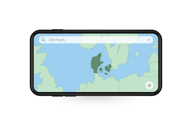 Searching map of denmark in smartphone map application map of denmark in cell phone