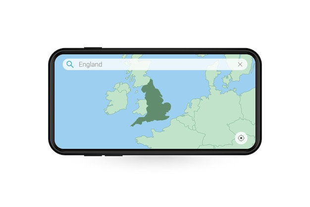 Searching map of england in smartphone map application. map of england in cell phone.