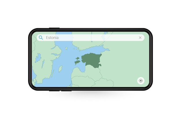 Searching map of estonia in smartphone map application. map of estonia in cell phone.