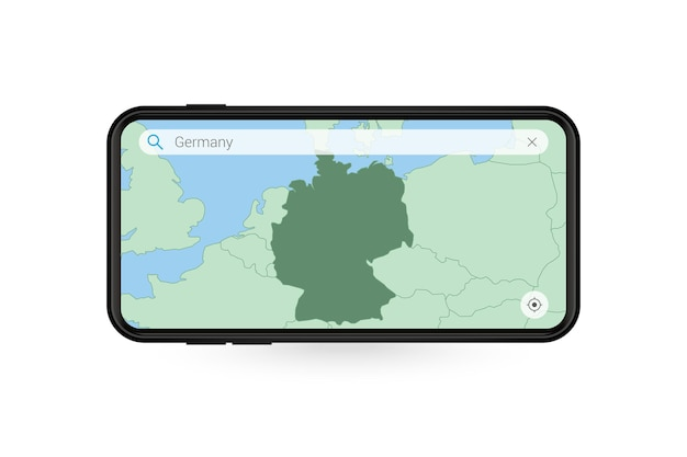 Searching map of germany in smartphone map application. map of germany in cell phone.