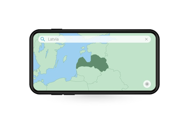 Searching map of latvia in smartphone map application. map of latvia in cell phone.