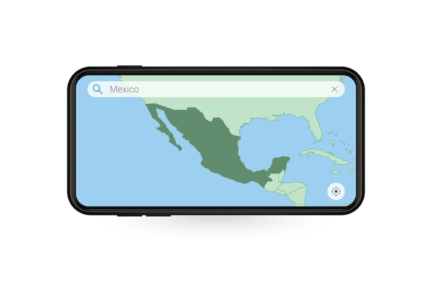Searching map of mexico in smartphone map application. map of mexico in cell phone.