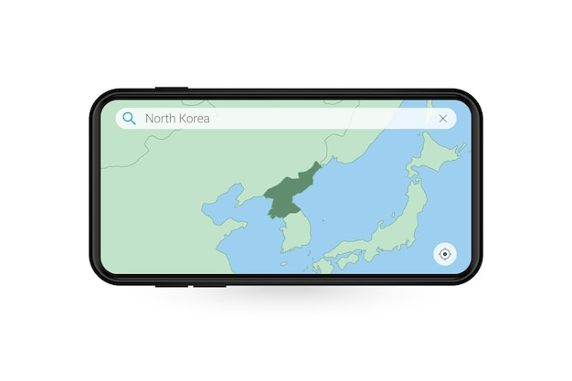 Searching map of north korea in smartphone map application. map of north korea in cell phone.