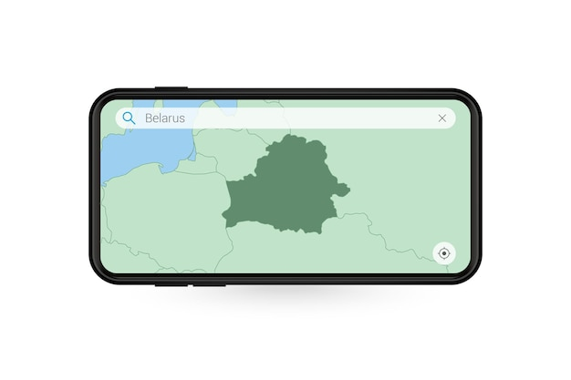 スマートフォンの地図アプリケーションでベラルーシの地図を検索しています。携帯電話のベラルーシの地図。