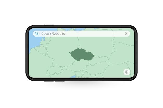 スマートフォンの地図アプリケーションでチェコ共和国の地図を検索しています。携帯電話でのチェコ共和国の地図。