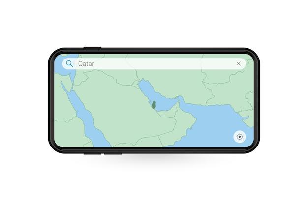 Поиск карты катара в приложении карты для смартфона. карта катара в сотовом телефоне.