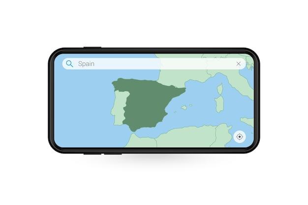 스마트폰 지도 응용 프로그램에서 스페인 지도를 검색합니다. 휴대 전화에서 스페인의 지도입니다.