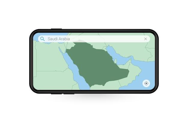 Searching map of saudi arabia in smartphone map application. map of saudi arabia in cell phone.