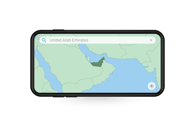 Searching map of united arab emirates in smartphone map application