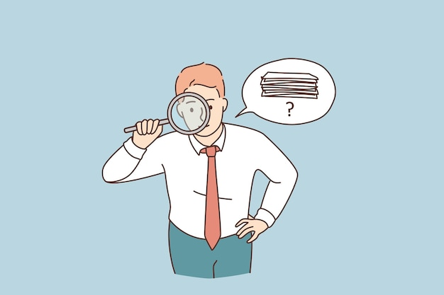 Searching for money or documents concept. young attentive businessman cartoon character standing looking at magnifier trying to find money or official documents vector illustration
