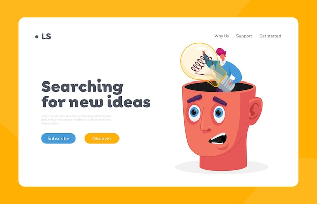 Searching new insights for project development, inspiration, creative idea landing page template