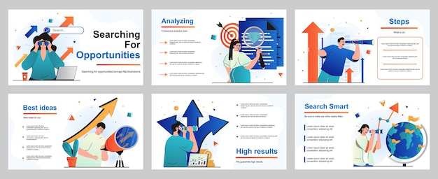 Searching for opportunities concept for presentation slide template people looking telescope
