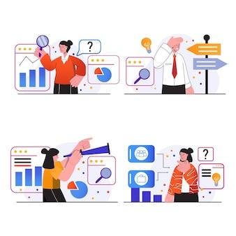 검색 기회 개념 장면은 회사에서 공석을 찾는 사람들을 설정합니다.