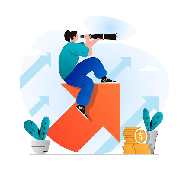 Searching opportunity concept in modern flat design woman looks through spyglass and looks