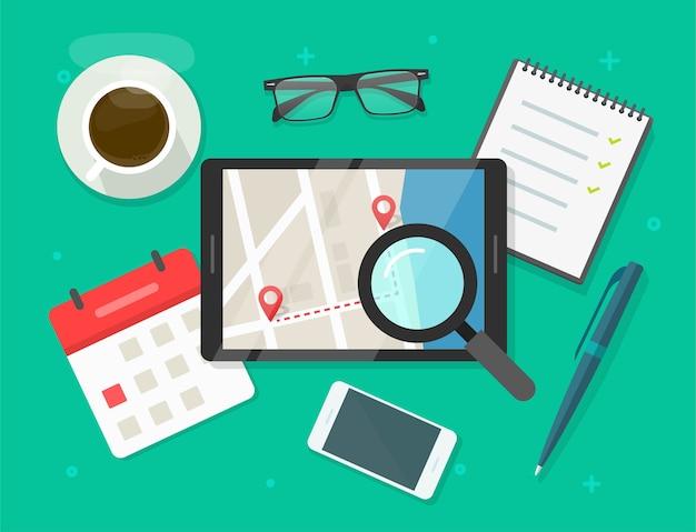 道路地図の場所目的地ルートフラットイラストを検索