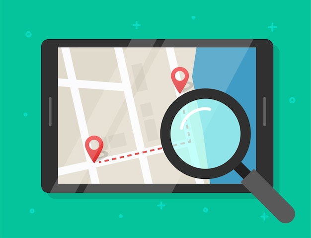 Searching road map location illustration
