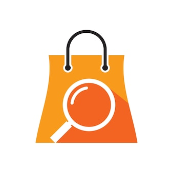 Searching shop icon logo design template with shop bag and scanner combination illustration