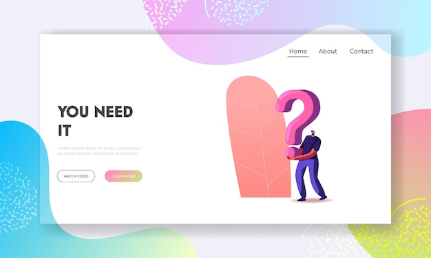 Searching solution and information landing page template. character holding huge question mark solving problem or room escape