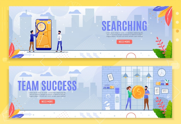 Searching and team success cartoon banner set
