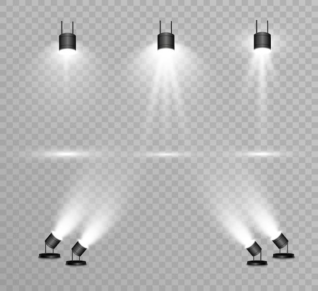 Коллекция прожекторов для сценического освещения, световые прозрачные эффекты. яркое красивое освещение точечными светильниками.