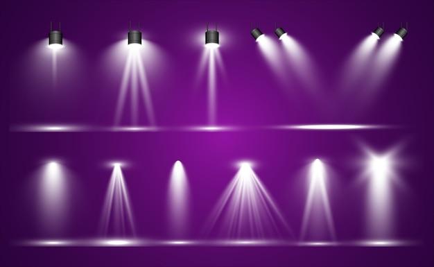 Коллекция прожекторов для сценического освещения, световые прозрачные эффекты. яркое красивое освещение