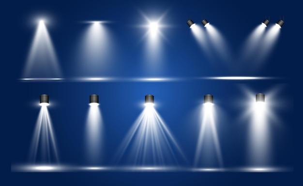 Коллекция прожекторов, световые прозрачные эффекты.