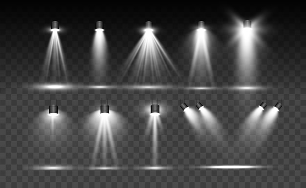 Searchlight collection for stage lighting, light transparent effects. bright beautiful lighting with spotlights.