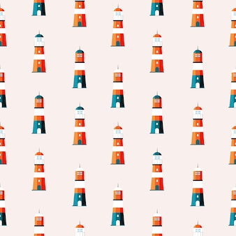 Searchlight lighthouse towers for marine navigation of ship seamless pattern background.