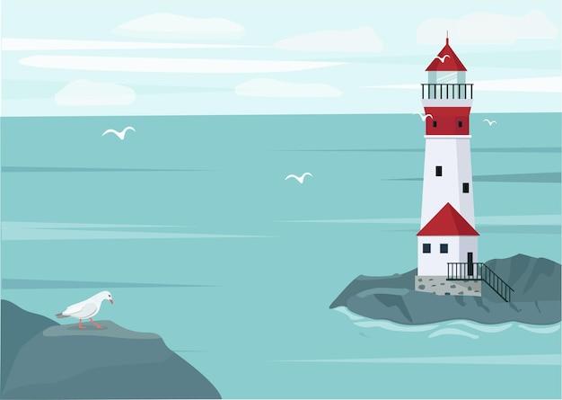 Морской пейзаж и маяк на скалах, синее море, чайки. векторная иллюстрация.