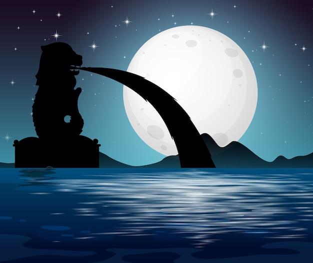 Морской пейзаж в ночной сцене
