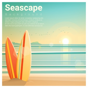 Seascape background with surfboards on the beach