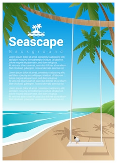 Seascape background with swing on tropical beach