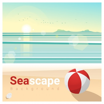 Seascape background with tropical beach in the morning