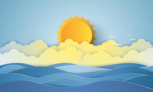 海の景色、鳥の群れと青い海、雲と太陽、紙のアートスタイル